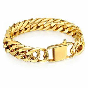 15mm 316L Stainless Steel Mens Curb Cuban Bracelet